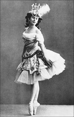 Prima ballerina Anna Pavlova. Early ballerina skirts were heavy, voluminous affairs that severely restricted the dancer's movements. Fortunately, by the early twentieth century, skirts were raised to the knees to showcase pointe work.